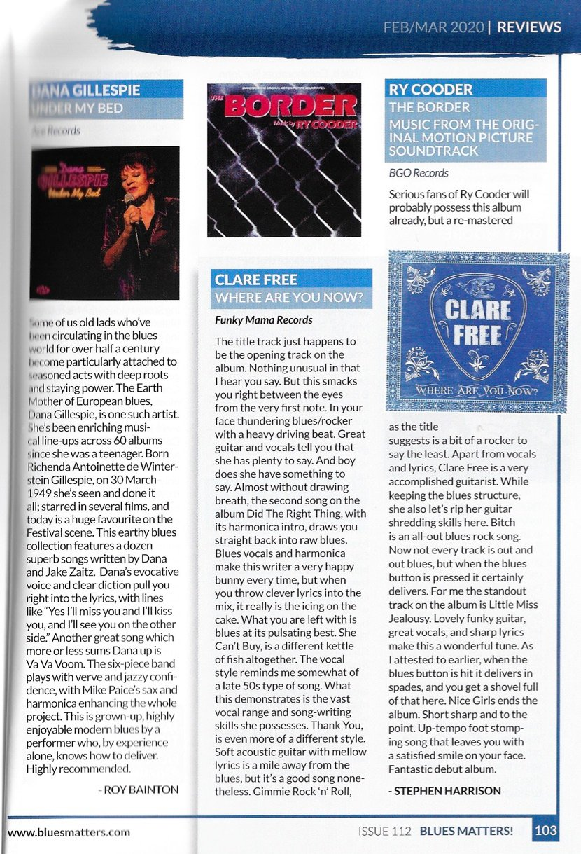 Clare Free Where Are You Now Review Blues Matters Feb 2020