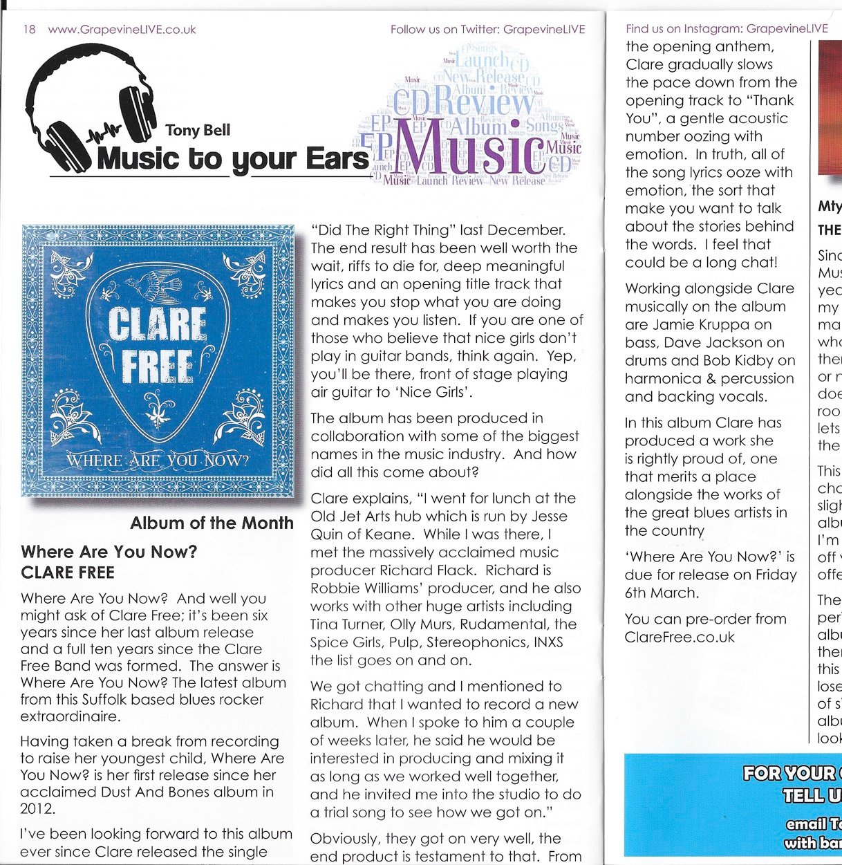 Grapevine Magazine Review of Where Are You Now?